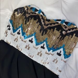 Gianni Bini Sequin Strapless Cocktail Dress Sz L